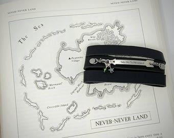 Peter Pan/Neverland Leather Wrap Bracelet with Swarovski Crystal and Metal Star Charm/Disney Jewelry/Metal Bracelet/Fairy Tale Jewelry