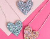 Glitter Heart Necklace, R...