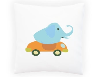 elephant driving a convertible Pillow Cushion Cover v988p
