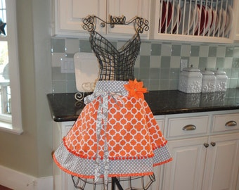 Tangerine Time -  Women's HALF Apron ~ Thanksgiving Apron in Tangerine/Gray ~ Sadie Style ~ 4RetroSisters
