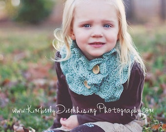PDF Crochet Pattern - Ruffled Shell Cowl with buttons (3-6 years, 6-12 years, Adult) Toddler, Teen, Woman