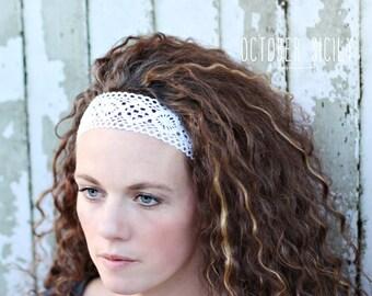 Cotton Crochet Lace Headband, Feminine, Vintage, White