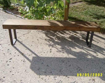 6' wooden bench with steel legs