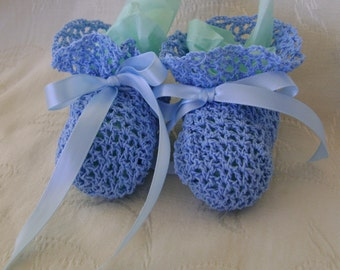 Crocheted Blue Lace Booties