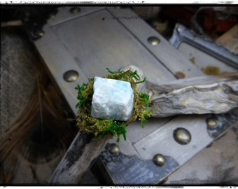 The Landscape Aquamarine Ring. Pale Aquamarine chunk and Lichen green moss rustic ring