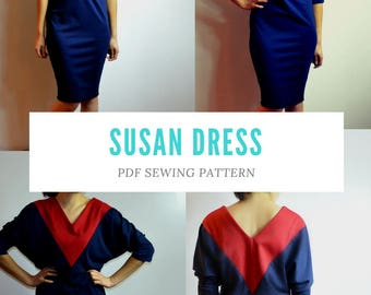 Susan Dress PDF sewing Pattern and Sewing tutorial including sizes 4 to 22 with a printable letter and A4 format plus copyshop format