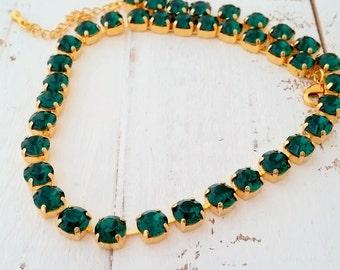 Emerald necklace,Swarovski crystal necklace,Gold, Silver,Bridesmaid gift,Emerald Bridal necklace,Emerald wedding bridesmaid,Tennis necklace