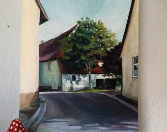 Original Oil Painting of Germany, Village Street, European Street View.