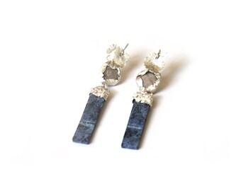 Blue Marble Earrings Gold/Silver