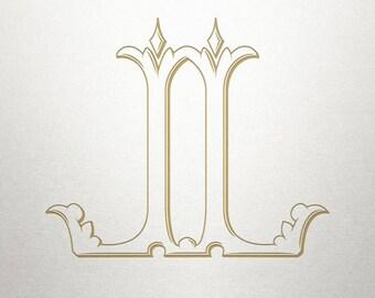 Illustration Font Monogram - LL - Illustration Font - Vintage
