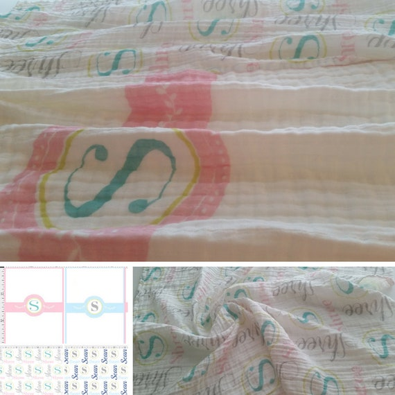 Monogram Initial & Name Blanket | Baby and Toddler size | Girl Pink | Boy Blue | Organic Cotton Knit or Double Gauze