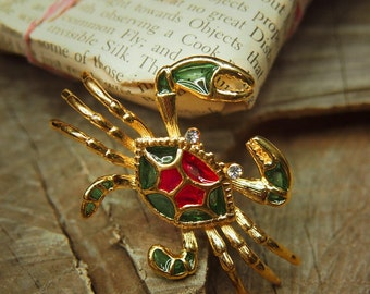 Crab Brooch antique vintage styled, bridesmaid, rhinestone diamante, wedding, mothers gift, men lapel, enamel, hijab #5272