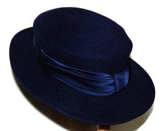 60's MK-Lakki blue wool hat with wide brim, Made in Finland