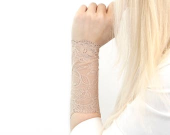 Lace Wrist Cuff Bracelet, Nude Tan Wrist Tattoo Cover Up Long Cuff Bracelet, Scar Cover, Arm Band Stretch Lace Wrist Bracelet Lace Wristband