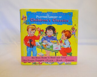 Vintage Children's Activity Book Set, Playtime Library of Children's Classics, Complete, 1950s Coloring Books,  Finger Puppets, More