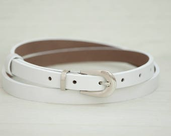 Leather Belt, White Leather Belt, White Womens Belt, Skinny Belt, Thin Belt, Dress Belt