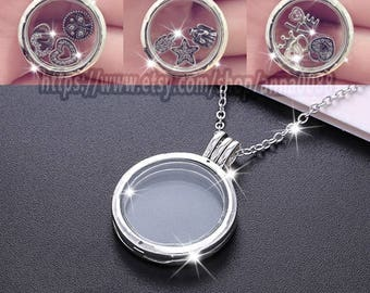 2016 Fall 925 Sterling Silver Large Floating Locket With Sapphire Crystal Glass Pendant (Include chain 75CM ) It's how you frame your day