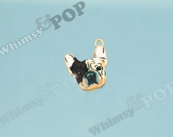 Gold Tone Sweet Face Boston Terrier Dog Enamel Charm, Boston Terrier Charm, Dog Charm, 19mm x 16mm  (6-4G)