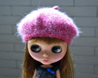 Babydoll Longhair Angola Wool Bright Pink Beret for Blythe Doll