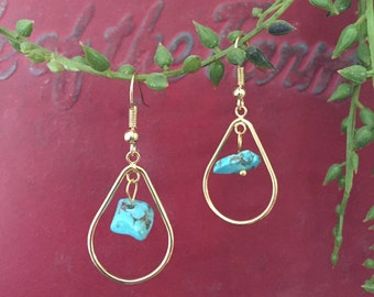 Gold tone turquoise tear drop earrings