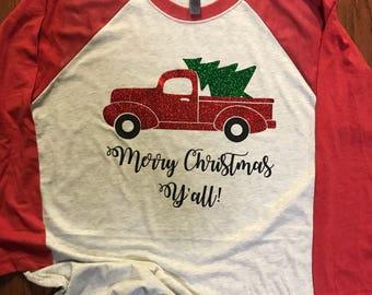 Christmas tree truck raglan