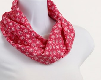 Pink White Snowflake Scarf Floral Light Knit Infinity Scarf ~ K028-S5