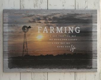 Windmill Canvas Print, Farming Lifestyle Canvas Print, Gift Idea for Farmer, Windmill on the Farm at Sunset Picture, Farm Sign, Farm Print