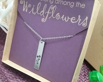 Inspirational, Wildflower necklace, you belong wildflower jewelry, gift for her, mother's day gift, romantic gift, free spirit, love, adore