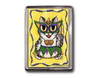Mardi Gras Cat Magnet New Orleans Cat Magnet NOLA Mardi Gras Mask Beads Big Eye Chibi Cat Framed Magnet Gifts For Cat Lovers