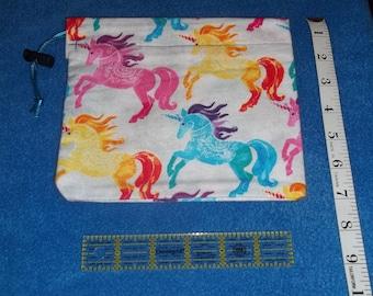 Colorful Unicorns Handmade Drawstring Bag