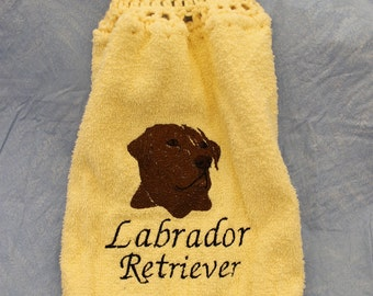 Pet Lover - Labrador Retriever (chocolate) dog head - Embroidered crochet topped hand towel (Free USA Shipping)