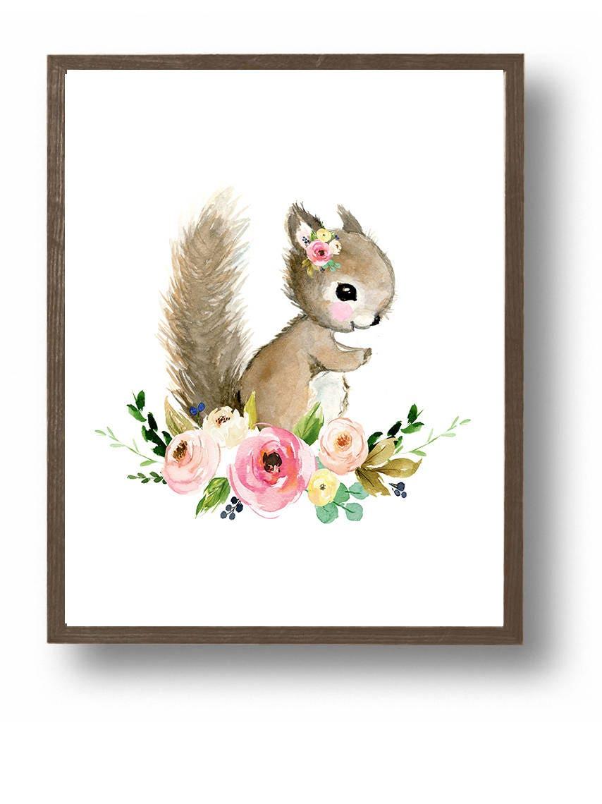 Baby Squirrel Painting Baby Girl Nursery Flower Nursery