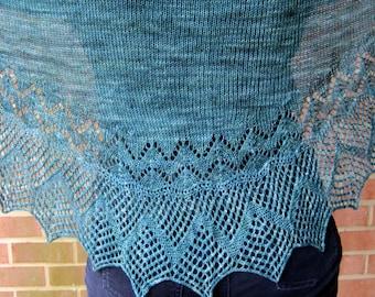 Knit Shawlette Pattern:  Irish Edged Long Wingspan Shawlette Knitting Pattern