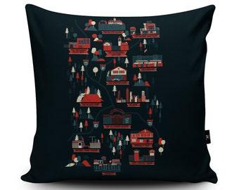 Walking Dead Map Cushion by Robert Farkas   Walking Dead Vegan-Suede Pillow   Walking Dead Map Gift   Zombie Apocalypse Present