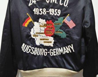 Map jacket etsy rare vintage 80s sukajan embroided reversible satin jacket toyo enterprise map augsburg germany m gumiabroncs Choice Image