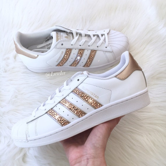 adidas originals superstar white rose gold with swarovski. Black Bedroom Furniture Sets. Home Design Ideas