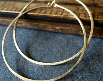 14k solid gold hoop earrings - endless hammered matte gold hoops - 2 inches