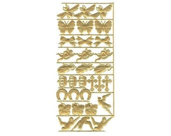 Sheet of 31 Golden Dresdens - Good Luck and More - Horseshoes, Crosses, Bees, Birds, Angels, Butterflies