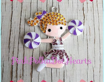 44mm purple and white cheerleader Rhinestone pendant for chunky necklace jewelry gumball wholesale supplies bubblegum cheerleader charm