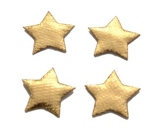 6 pc Gold Star Shiny Fabric Patch Applique SS42617