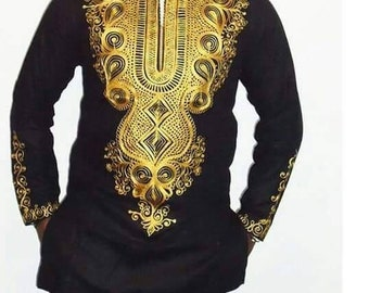 Men's shirt, African embroided top, occasion long sleeve top, dashiki, African print top