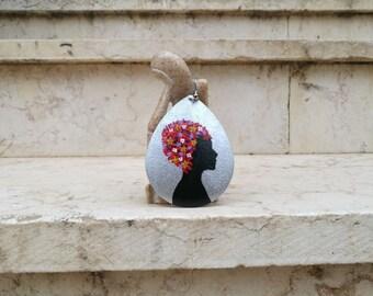 Black woman Silhouette earrings, Silhouette jewelry, earrings gift for women, Flower girl, floral statement earrings, hand painted earring