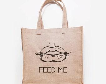 Feed Me Jute Grocery Bag