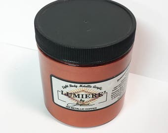Lumiere Metallic Copper 564 - 8 oz Size - Brilliant Light Body Metallic Acrylic Paint - Art Craft Fabric Canvas Wood Paper Faux Finish