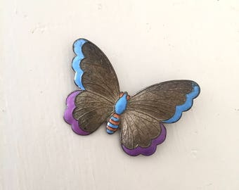 Flutter by brooch | vintage 1920s butterfly pin | 20s enamel insect badge