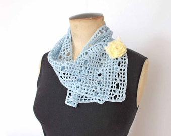 Crochet scarf Knit scarf Summer scarf Summer accessories scarf White scarf Blue retro scarf Retro clothing Scarf for women Gift for wife