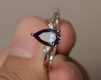 Engagement Ring Alexandrite Ring Sterling Silver Ring Pear Cut Gemstone June Birthstone Ring Color Changing Gems
