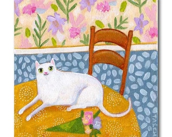 ORIGINAL white CAT painting on table with bouquet of flowers acrylic on canvas by TASCHA