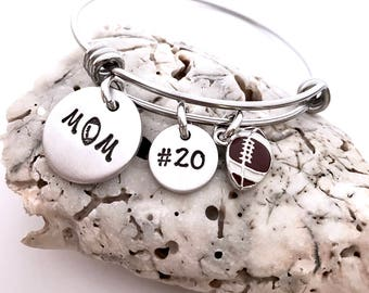 Football mom bracelet-custom sports bracelet- adjustable bracelet- Mother's Day gift- mom jewelry- football jewelry- team mom gift- mom gift