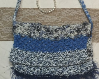 Blue Hand Knitted Bag With Flap